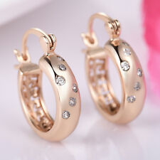 Star Sky Huggie Crystal Rhinestone Gold Filled Women Lady Wedding Hoop Earrings