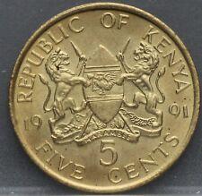 Kenia Kenya - five 5 cents 1991