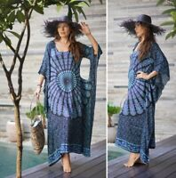 Bohemian Fashion Maxi Dress Batik Kaftan Poncho 2 Hole Black/Blue/Pink OS SC328