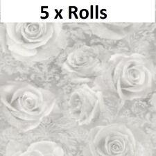 5 Rolls Arthouse Reverie Silver Wallpaper Floral Roses Filigree Grey Flowers