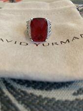 David Yurman Wheaton Ring With Garnet And Diamonds 16x12mm Size 6.25
