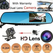 "4.3"" 1080P HD Dual Lens Car DVR Dash Video Cam Mirror Recorder Rear View Camera"