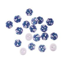 "10 BLUE & WHITE FLOWERS White Wood Buttons 5/8"" (15mm) Scrapbook Crafts (0897)"