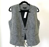 $98 NWT Ann Taylor Women White Navy/almost Black Fully Lined Tweed Vest 10 12 6P