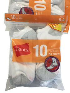 "Hanes Comfort Toe Seam 10 paris cushion noshow white socks "" ALL COTTON """