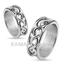 Unique FAMA 8mm Stainless Steel Infinity Symbols Casting Ring Band Size 6-10