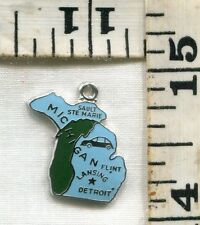 VINTAGE STERLING BRACELET CHARM~#83266~TWO TONE ENAMELED MICHIGAN STATE~$14.99!!