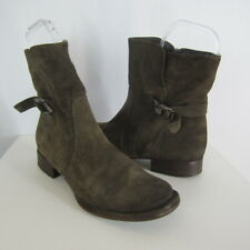 Alberto Fermani Womens 7 Brown Suede Leather Zip Buckle Ankle Biker Boots Italy