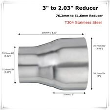 """3"""" ID to 2"""" OD Stainless Steel TURBO Exhaust Pipe Connector Adapter Reducer Tube"""