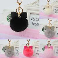 Cute Rabbit Fur Pom-pom Key Chain Bag Fluffy Puff Ball  Key Ring Car Pendant Hot