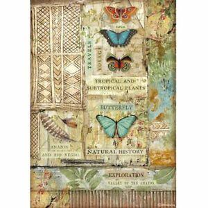 Carta di riso A4 Amazonia Farfalla Stamperia per decoupage mixed media