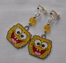 Handmade Nickelodeon Spongebob Squerpants clip on earrings silver plated S03