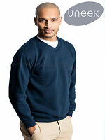 Uneek UC204 Mens Premium V Neck Sweatshirt 350gsm Heavy Duty Sweater Jumper