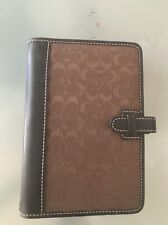 COACH Brown Signature leather And Fabric Filofax 6 Prong Planner Agenda 6x4