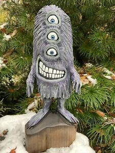 3-EYED MONSTER Chainsaw Carving SILLY MONSTER DUDE Black Walnut Wood UNIQUE!