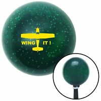 Yellow Wing It Green Metal Flake Shift Knob with M16x1.5 insert auto socal