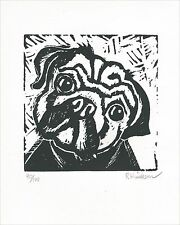PUG - LINOCUT LIMITED EDITION PRINT Signed And Numbered by Randal Huiskens COA