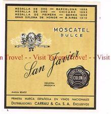 Unused 1940s URUGUAY Montevideo Passadore Carrau Mutio San Javier Moscatel Label