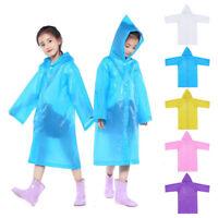 Children Kids Boys Girls Hooded Jacket Raincoat Portable Reusable Rain Ponchos