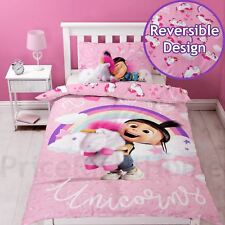 DESPICABLE ME DAYDREAM FLUFFY UNICORN SINGLE DUVET COVER AND PILLOWCASE SET NEW