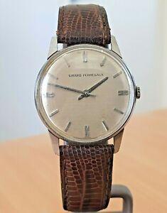 Vintage Girard Perregaux SS silver dial Swiss made watch 17j wind.