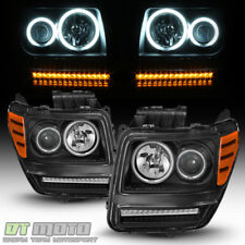 Blk 2007-2012 Dodge Nitro LED Turn CCFL Halo DRL Projector Headlights Headlamps