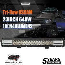 "7D+ OSRAM TRI-ROW 23""INCH 648W LED WORK LIGHT BAR SPOT FLOOD COMBO OFFROAD 24"""