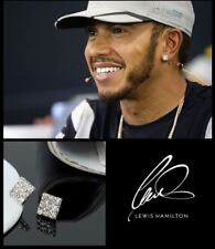 Men's/Boy's: HAMILTON 18ct MAGNETIC White Gold Cubic Zirconia Crystal Earrings