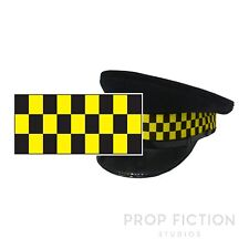 Traffic Cap Dice Chequered Banding / 1M Black & Yellow Check Sillitoe Hat Ribbon