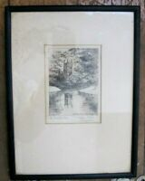 M. Oliver Ray St John's Tower Cambridge Etching England Art early 20th century