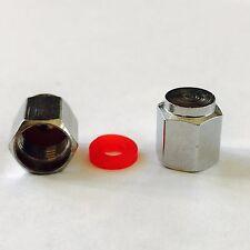 RUOTA in Lega Pneumatico Valvola Polvere CAP COPERCHIO con guarnizione in metallo pesante Testa Esagonale 2 x 4