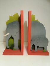 Wooden elephant childrens bookends