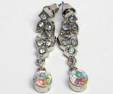 VINTAGE AB CRYSTAL BRIDAL DROP EARRINGS MARCASITE JEWELRY ANTIQUE SILVER STUDS
