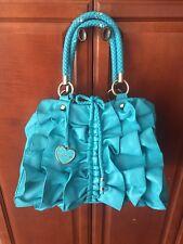 Bebe Turquoise Ruffle Shoulder Bag