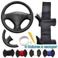 Funda de volante a medida para Peugeot 206 207 en cuero negro liso + perforado