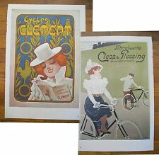 """1973 PRINT/POSTER/AD~1900 CLEMENT CYCLES~1898 CLESS & PLESSING~16""""x11"""""""