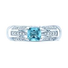 Cushion Aquamarine Diamond 18K White Gold Ring Womens Engagement Cocktail .74CT