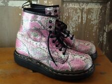 Dr Martens Pink Leather Snakeskin Look Boots Size 9 Lace Up 8 Eyelets