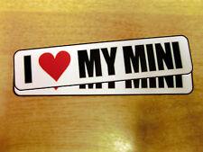 """2x """"I LOVE MY MINI"""" decals - bumper / window stickers"""