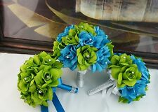 5 Wedding Bouquets - Lime/Apple Green and Turquoise Artificial Roses