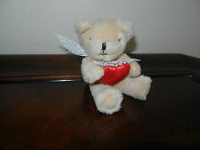 "Russ Light Tan Teddy Bear Mini 4"" with Red Heart Pillow and Lace Bow Item #341"