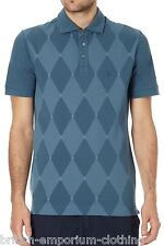 BNWT BALLANTYNE 100% Cotton Diamond Teal Short Sleeved Piquet Polo T-Shirt LARGE