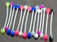 "5 Pc Bio-Flexible Industrial Barbells Pregnancy Belly Rings 14g 1.5"" No Metal"