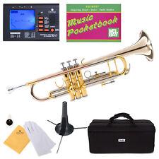 Mendini Bb Trumpet Gold & Rose Brass Monel Valves Piston +Tuner+Case ~MTT-30GB
