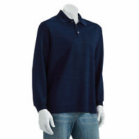 New Haggar Men's Striped Easy-Care Long Sleeve Polo Blue Size X-Large MSRP $46