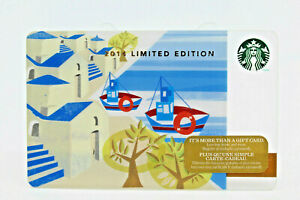 Starbucks Coffee 2014 Gift Card Greek Islands Boats Limited Edition Zero Balance