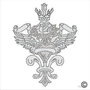 Heart Wings Crown Rhinestone Diamanté Transfer Hotfix (iron on motif)