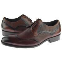 Carrucci Leather Wingtip Derby, Men's Dress Oxford Shoes, Brown