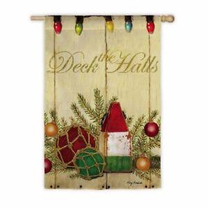 """Flag Christmas,  """" Deck The Halls"""", 29"""" x 43""""  Nautical, Christmas"""