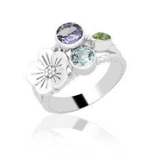 Zilver ring bloem met topaas peridot amethist